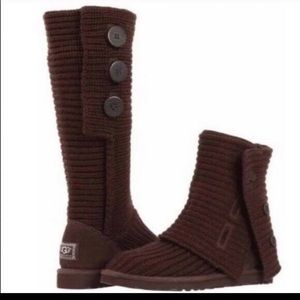 UGG Brown Classic Cardy Sweater Boots